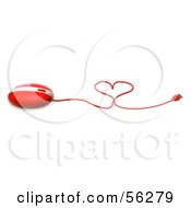 Royalty Free RF Clipart Illustration Of A 3d Red Computer Mouse With The Cable Forming A Heart Version 2