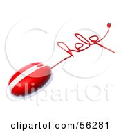 Royalty Free RF Clipart Illustration Of A 3d Red Computer Mouse With The Cable Reading HELP Version 2