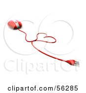 Royalty Free RF Clipart Illustration Of A 3d Red Computer Mouse With The Cable Forming A Heart Version 3