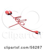 Royalty Free RF Clipart Illustration Of A 3d Red Computer Mouse With The Cable Reading HELP Version 3