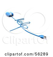 Royalty Free RF Clipart Illustration Of A 3d Blue Computer Mouse With The Cable Reading HELP Version 3