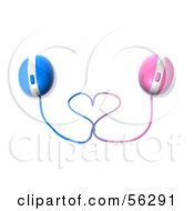 Royalty Free RF Clipart Illustration Of 3d Pink And Blue Computer Mice With Their Cables Forming A Heart Version 1