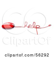 Royalty Free RF Clipart Illustration Of A 3d Red Computer Mouse With The Cable Reading HELP Version 1 by Julos