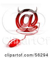 Royalty Free RF Clipart Illustration Of A 3d Devil Arobase At Symbol With A Red Computer Mouse Version 1 by Julos