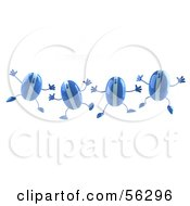 Royalty Free RF Clipart Illustration Of A Group Of Blue 3d Computer Mouse Characters Jumping Version 1