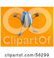 Royalty Free RF Clipart Illustration Of A 3d Blue Computer Mouse Character Jumping Version 1