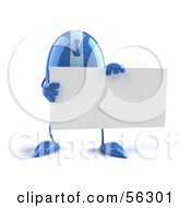 Royalty Free RF Clipart Illustration Of A 3d Blue Computer Mouse Character Holding A Blank Business Card Version 1