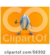 Royalty Free RF Clipart Illustration Of A 3d Blue Computer Mouse Character Giving The Thumbs Up Version 2