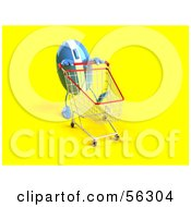 Royalty Free RF Clipart Illustration Of A 3d Blue Computer Mouse Character Pushing A Shopping Cart Version 3