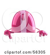 Royalty Free RF Clipart Illustration Of A 3d Pink Computer Mouse Character Pointing Down And Standing Behind A Blank Sign