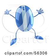 Royalty Free RF Clipart Illustration Of A 3d Blue Computer Mouse Character Jumping Version 2