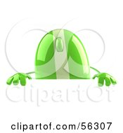 Royalty Free RF Clipart Illustration Of A 3d Green Computer Mouse Character Standing Behind A Blank Sign