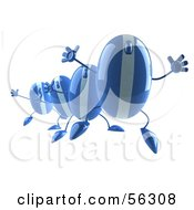 Royalty Free RF Clipart Illustration Of A Group Of Blue 3d Computer Mouse Characters Jumping Version 2
