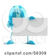Royalty Free RF Clipart Illustration Of A 3d Blue Computer Mouse Character Holding A Blank Business Card Version 3