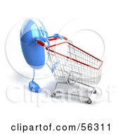 Royalty Free RF Clipart Illustration Of A 3d Blue Computer Mouse Character Pushing A Shopping Cart Version 4