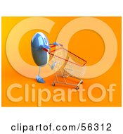 3d Blue Computer Mouse Character Pushing A Shopping Cart Version 1 by Julos