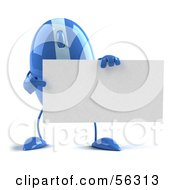Royalty Free RF Clipart Illustration Of A 3d Blue Computer Mouse Character Holding A Blank Business Card Version 2