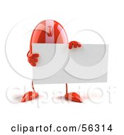 Royalty Free RF Clipart Illustration Of A 3d Red Computer Mouse Character Holding A Blank Business Card