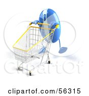 Royalty Free RF Clipart Illustration Of A 3d Blue Computer Mouse Character Pushing A Shopping Cart Version 6