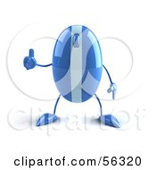 Royalty Free RF Clipart Illustration Of A 3d Blue Computer Mouse Character Giving The Thumbs Up Version 1