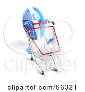 Royalty Free RF Clipart Illustration Of A 3d Blue Computer Mouse Character Pushing A Shopping Cart Version 5 by Julos