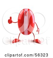3d Red Computer Mouse Character Giving The Thumbs Up