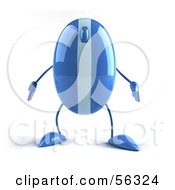 Royalty Free RF Clipart Illustration Of A 3d Blue Computer Mouse Character Standing And Facing Front Version 1 by Julos