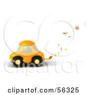 Royalty Free RF Clipart Illustration Of A 3d Yellow Flower Power Car Character Version 2