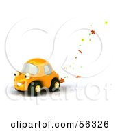 Royalty Free RF Clipart Illustration Of A 3d Yellow Flower Power Car Character Version 1
