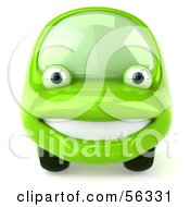 Royalty Free RF Clipart Illustration Of A 3d Green Car Character Facing Front And Smiling by Julos