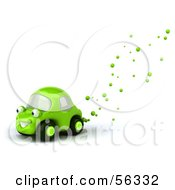 Royalty Free RF Clipart Illustration Of A 3d Green Car Character With Bubbles Flowing From The Exhaust