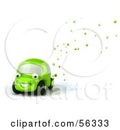 Royalty Free RF Clipart Illustration Of A 3d Green Car Character Emitting Bubbles From The Exhaust
