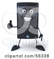 Royalty Free RF Clipart Illustration Of A 3d Computer Tower Character Giving The Thumbs Up by Julos