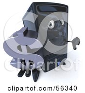 3d Computer Tower Character Pouting And Holding A Dollar Symbol