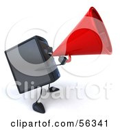 Royalty Free RF Clipart Illustration Of A 3d Computer Tower Character Using A Megaphone Version 2