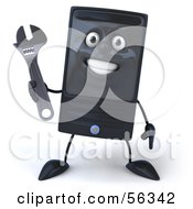 3d Computer Tower Character Holding A Wrench