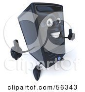 Royalty Free RF Clipart Illustration Of A 3d Computer Tower Character Giving Two Thumbs Up