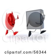 Royalty Free RF Clipart Illustration Of A 3d Computer Tower Character Running From A Devil Virus Version 2