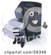 Royalty Free RF Clipart Illustration Of A 3d Computer Tower Character Smiling And Holding A Euro Symbol Version 1
