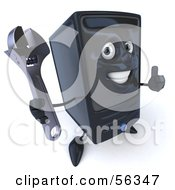 3d Computer Tower Character Giving The Thumbs Up And Holding A Wrench