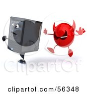 Royalty Free RF Clipart Illustration Of A 3d Computer Tower Character Running From A Devil Virus Version 3