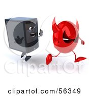 Royalty Free RF Clipart Illustration Of A 3d Computer Tower Character Chasing Away A Red Devil Virus Version 2