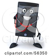 Royalty Free RF Clipart Illustration Of A 3d Computer Tower Character Using A Stethoscope Version 4