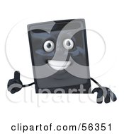Royalty Free RF Clipart Illustration Of A 3d Computer Tower Character Giving The Thumbs Up And Standing Behind A Blank Sign