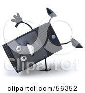 Royalty Free RF Clipart Illustration Of A 3d Computer Tower Character Doing A Cartwheel