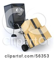 Royalty Free RF Clipart Illustration Of A 3d Computer Tower Character Pushing Boxes On A Dolly Version 1