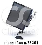Royalty Free RF Clipart Illustration Of A 3d Computer Tower Character Using A Magnifying Glass Version 1