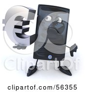 Royalty Free RF Clipart Illustration Of A 3d Computer Tower Character Pouting And Holding A Euro Symbol Version 2