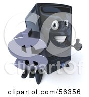 3d Computer Tower Character Smiling And Holding A Dollar Symbol - Version 1