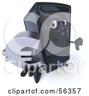 Royalty Free RF Clipart Illustration Of A 3d Computer Tower Character Pouting And Holding A Euro Symbol Version 1